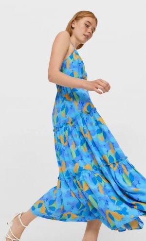 Длинное Платье С Завязками На Воротнике Синий Xl Stradivarius. Цвет: синий