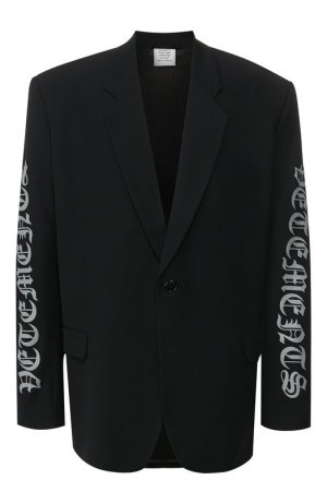 Пиджак из смеси вискозы и шерсти Vetements. Цвет: чёрный