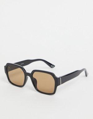 Квадратные солнцезащитные очки в черной пластмассовой оправе с коричневыми дымчатыми стеклами стиле 70-х -Черный цвет ASOS DESIGN
