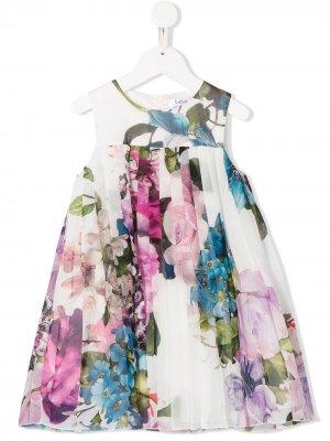 Платье с цветочным принтом и плиссировкой Lesy. Цвет: белый