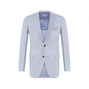 Пиджак из смеси шерсти и шелка Zilli. Цвет: синий