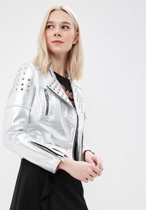 Куртка кожаная Imperial. Цвет: серебряный