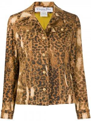 Джинсовая куртка 2000-х годов с леопардовым принтом pre-owned Christian Dior. Цвет: нейтральные цвета