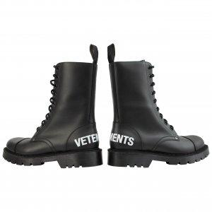 Черные ботинки на шнуровке с логотипом Vetements