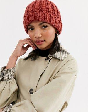 Вязаная шапка-бини -Красный Ichi