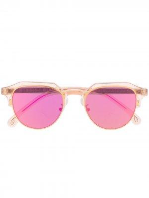 Солнцезащитные очки Barber в круглой оправе Paul Smith. Цвет: золотистый