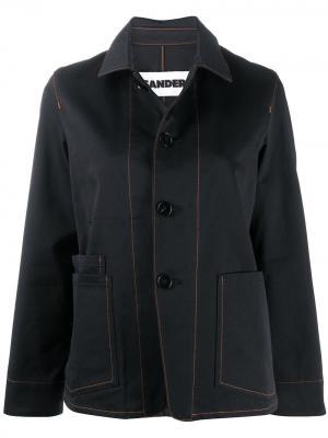 Однобортная джинсовая куртка Jil Sander. Цвет: синий