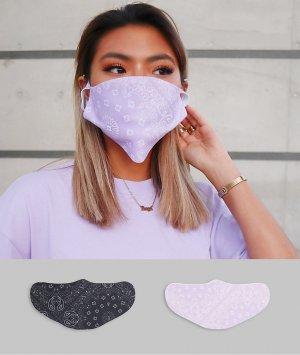 Набор из 2 масок для лица в стиле унисекс с банданным принтом -Многоцветный ASOS DESIGN