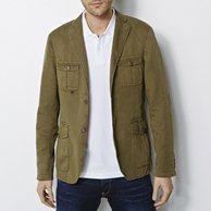 Куртка V-LINEN из хлопковой саржи CHEVIGNON. Цвет: зеленый милитари