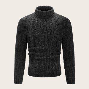 Мужской трикотажный свитер с высоким вырезом SHEIN. Цвет: чёрный