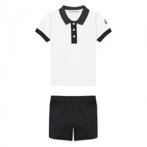 Комплект из хлопковой футболки и шорт Moncler Enfant. Цвет: белый