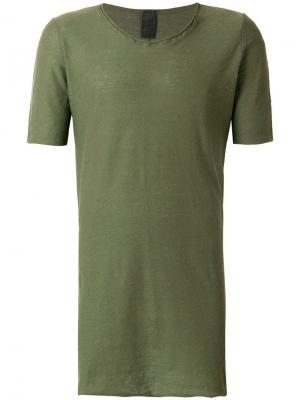Удлиненная футболка с круглым вырезом 10Sei0otto. Цвет: зеленый