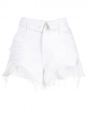 Джинсовые шорты с эффектом потертости Alexander Wang. Цвет: белый