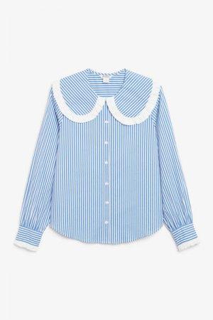 Блузка с большим воротником Monki. Цвет: синий, разноцветный