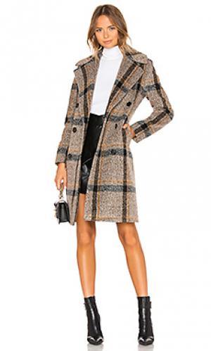 Пальто KENDALL + KYLIE. Цвет: коричневый