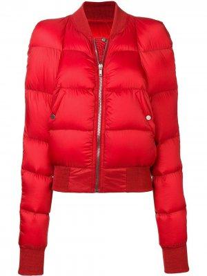 Дутая куртка-бомбер Rick Owens. Цвет: красный