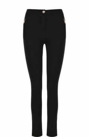 Однотонные брюки-скинни с контрастными молниями Roberto Cavalli. Цвет: чёрный
