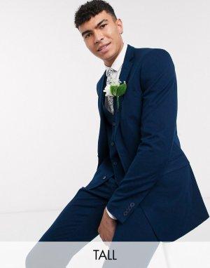 Фланелевый приталенный пиджак TALL-Голубой French Connection