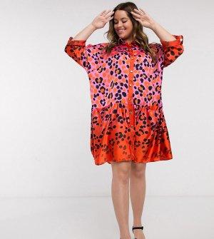 Платье-рубашка мини большого размера с леопардовым принтом оранжевого и розового цвета -Розовый Liquorish