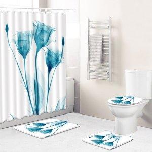 1шт с цветочным принтом Коврик для ванной или Занавеска душа SHEIN. Цвет: многоцветный