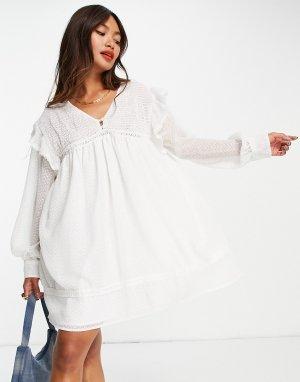 Белое платье мини с присборенной юбкой и кружевными вставками -Белый ASOS DESIGN