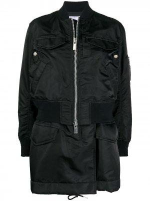 Длинная куртка-бомбер на молнии Sacai. Цвет: черный