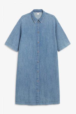 Джинсовое платье-рубашка оверсайз Monki. Цвет: синий