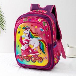 Рюкзак с рисунком единорога для девочек SHEIN. Цвет: красный