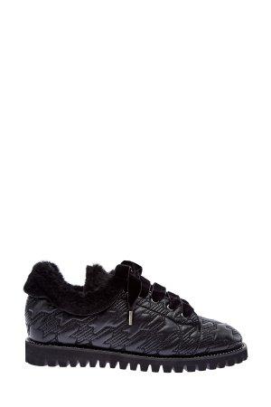 Кроссовки из кожи со стеганым принтом и бархатной шнуровкой BALLIN. Цвет: черный