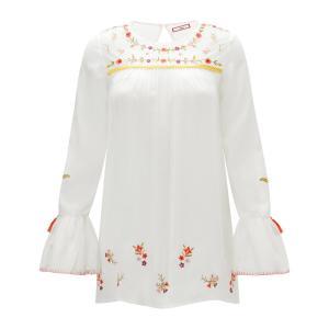 Блузка с круглым вырезом, вышивкой и длинными рукавами воланами JOE BROWNS. Цвет: белый