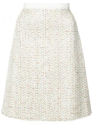 А-образная твидовая юбка Giambattista Valli. Цвет: бежевый