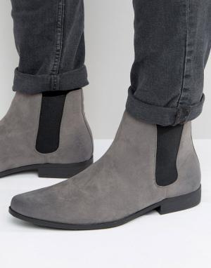 Серые ботинки челси из искусственной замши ASOS DESIGN. Цвет: серый