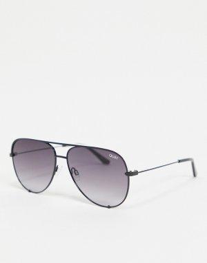 Женские солнцезащитные очки-авиаторы в черной оправе Quay High Key Rivet-Черный цвет Australia