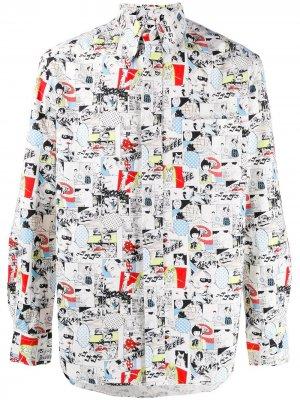 Рубашка Camp с принтом Gitman Vintage. Цвет: белый