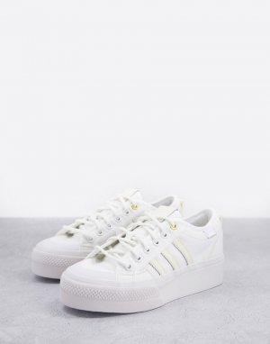 Белые кроссовки на платформе Nizza-Белый adidas Originals