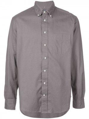 Рубашка Hopsack на пуговицах Gitman Vintage. Цвет: серый