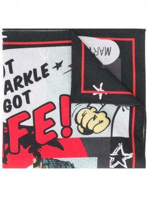 Платок с графичным принтом Martine Rose. Цвет: черный