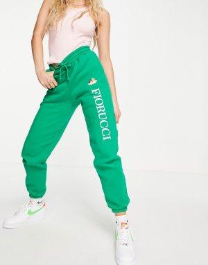 Зеленые джоггеры с логотипом и принтом в виде ангелов-гонщиков от комплекта -Зеленый цвет Fiorucci