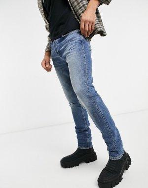 Выбеленные суженные джинсы с рваным дизайном -Серый Bellfield