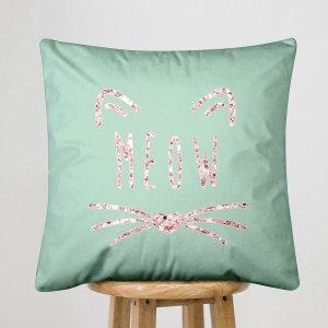 Чехол для подушки без наполнителя с принтом кошки и буквы SHEIN. Цвет: многоцветный
