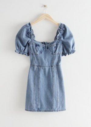 Джинсовое мини-платье с объемными рукавами &Other Stories. Цвет: синий