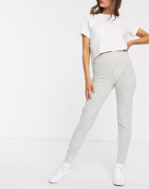 Серые трикотажные брюки в рубчик с эффектом металлик -Серый Lipsy
