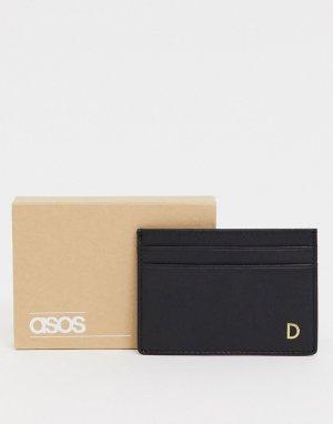 Кожаная кредитница с инициалом D -Черный ASOS DESIGN