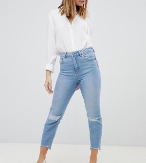 Светлые джинсы слим в винтажном стиле с завышенной талией и рваными коленями ASOS DESIGN Petite Farleigh-Синий