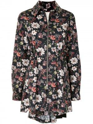 Куртка на молнии с цветочным принтом Adam Lippes. Цвет: черный