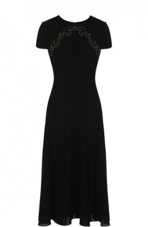 Вязаное платье-миди с контрастной отделкой Ralph Lauren. Цвет: черный