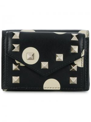 Мини-кошелек в три сложения Valentino. Цвет: черный
