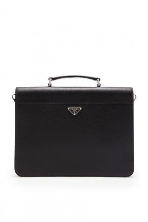 Сумка-портфель из сафьяновой кожи Prada. Цвет: черный