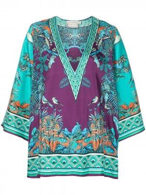Шелковая блузка с принтом Mary Katrantzou. Цвет: синий