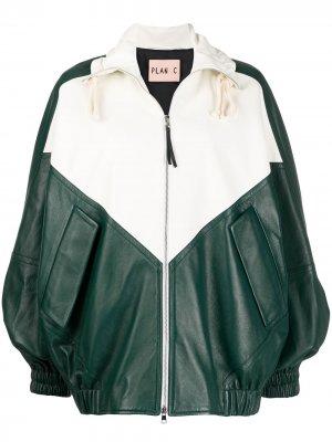 Куртка-бомбер в стиле колор-блок Plan C. Цвет: белый